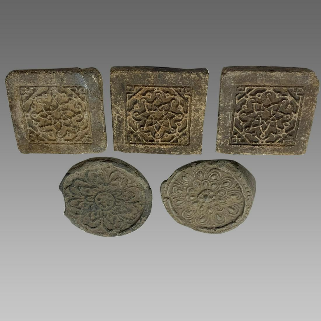 Lot of 5 Islamic Limestone Tiles with Floral design.