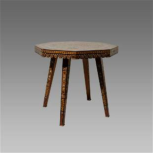 Antique Middle Eastern Wood Table Syria, Morrish.