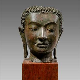 Thai Bronze Head Of Buddha. Size 10 3/4 inches high.