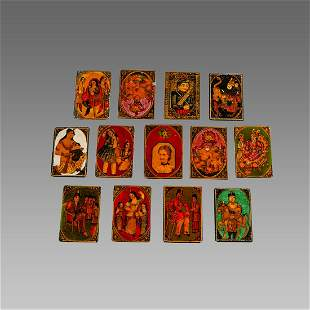 19th century Persian Qajar Papier Mache Playing Cards