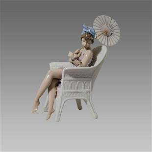 Lladro Trino at the Beach Girl in Chair with Parasol,