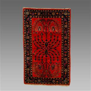 Persian Kashan Small Wool Rug.