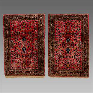 A Pair of Persian Kashan Small Wool Rugs.