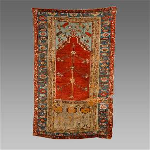 Turkish Ladik Wool Prayer Rug.