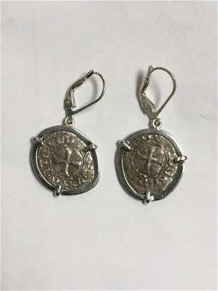 Medieval Silver coins set in Silver earrings c.1389 AD