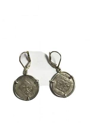 Medieval Silver coins set in Silver earrings c.1250 AD.