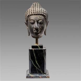 Thai Bronze Head Of Buddha. Size 6 5/8 inches high.