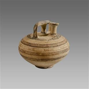 Ancient Mycenaean pottery stirrup vessel Circa