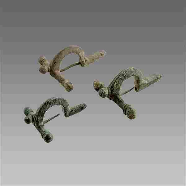 Lot of 3 Ancient Roman Bronze Febula Brooch c.8th cent