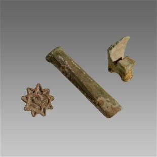Ancient Bronze Age Axe, Baktrian Bronze Seal, Clay