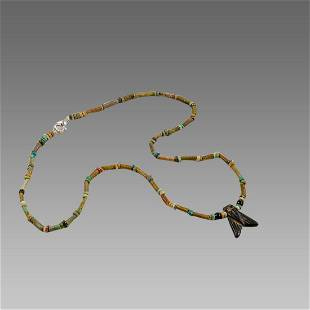 Ancient Egyptian Faience Beads Necklace with Fly Amulet