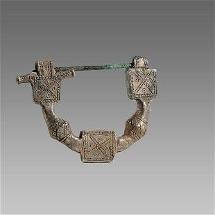 Ancient Byzantine Silver Fibula Brooch c.8th century