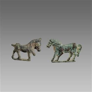 lot of 2 Ancient Roman Bronze Horse Fibula c.1st-2nd