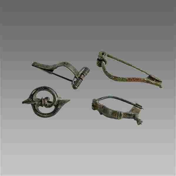 Lot of 4 Ancient Roman Bronze Fibula c.2nd-4th century