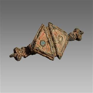 Ancient Roman Bronze Enamel Fibula c.2nd-4th century