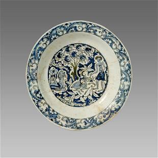 Turkish Ottoman Ceramic Bowl with figures c.18th