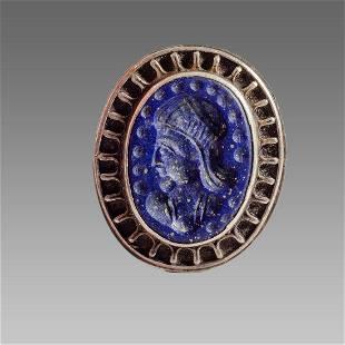 Persian Large Silver Ring with Lapis Lazuli Intaglio.