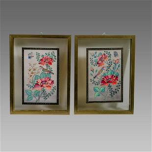 A pair of Persian Miniature Painting. Signed.