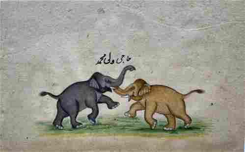 India, Miniature Painting of 2 elephants embracing .