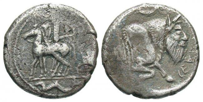 Sicily, Gela. Ca. 465-450 B.C. AR tetradrachm.
