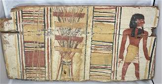 Large Ancient Egyptian Wood Panel with figure, ankh