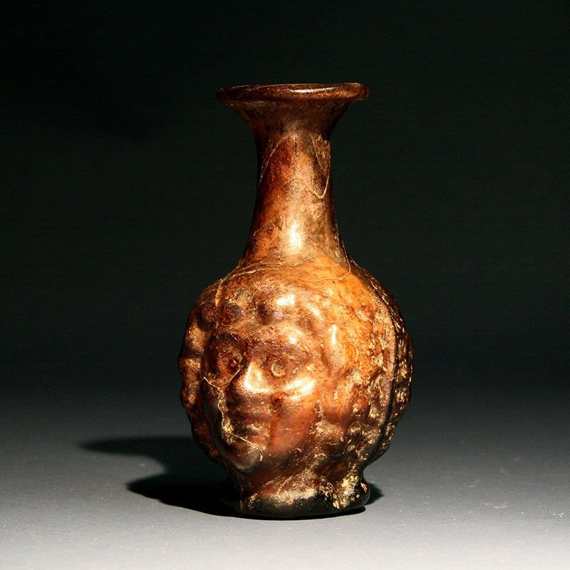 Ancient Roman Janus Mould Blown Head Flask