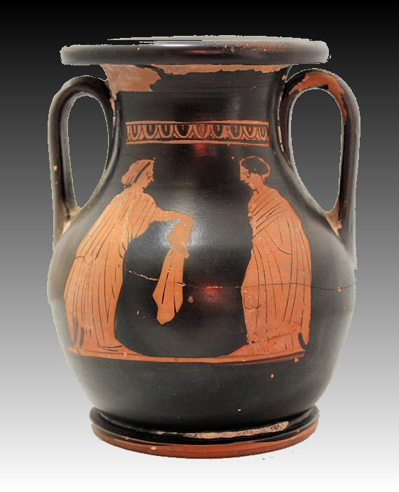 Ancient Greek Small Pelike Red Figure Pottery Vase