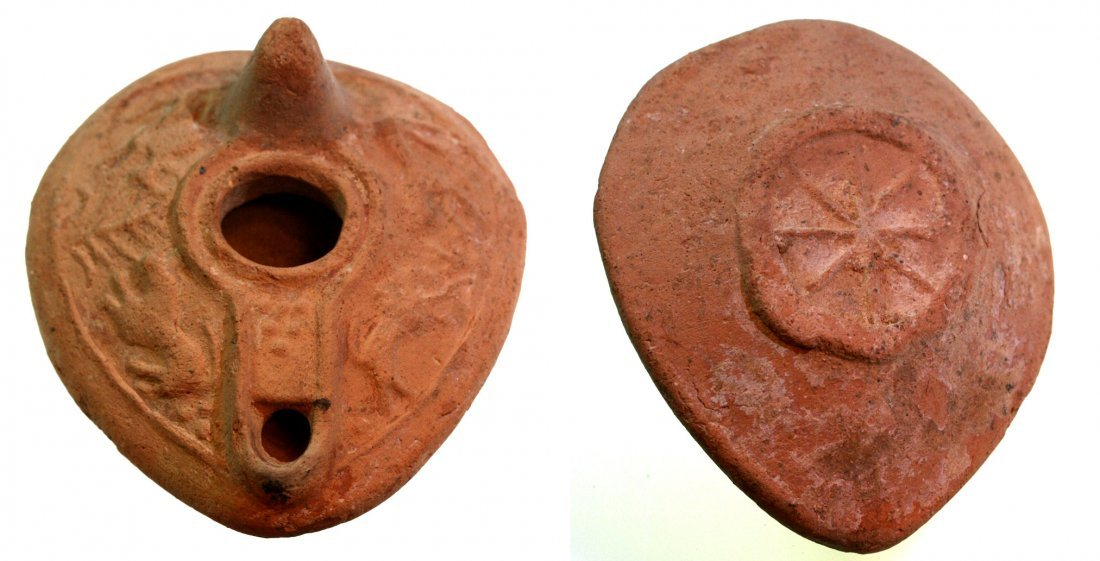 Roman Terracotta Oil Lamp with Two Lions, Two Bulls and