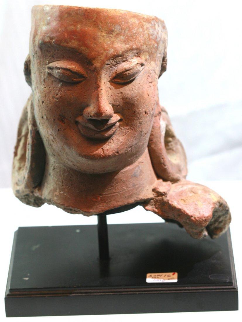 Kushan Terracotta Bodhisattva Head, circa 20-280 AD