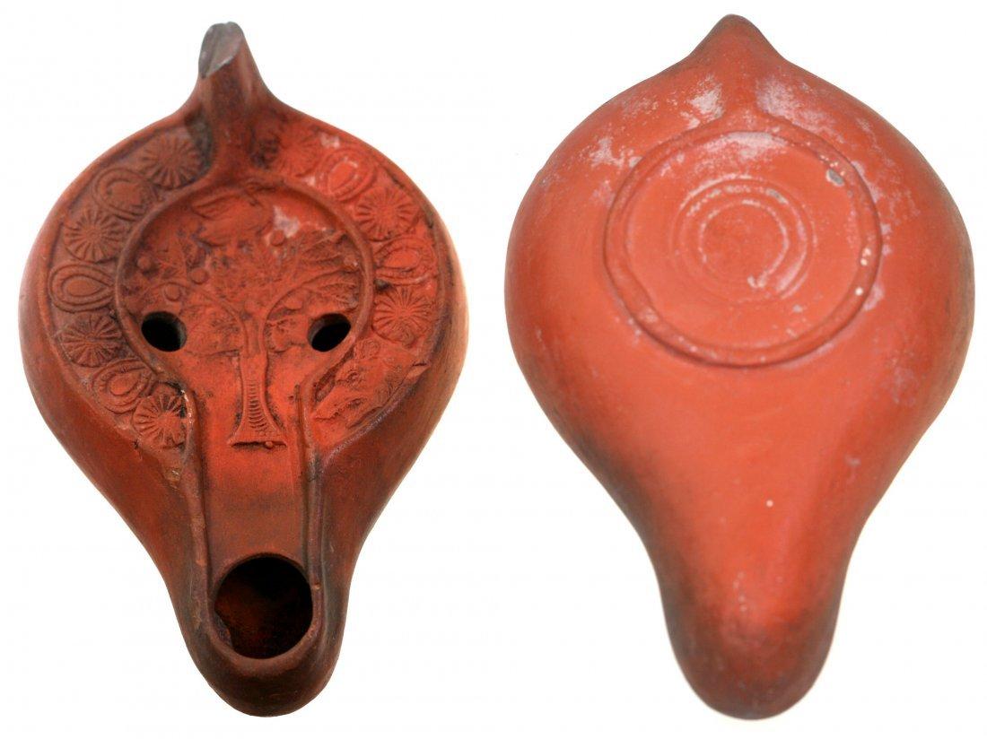Roman Terracotta Oil Lamp with Tree and Bird, circa 1st