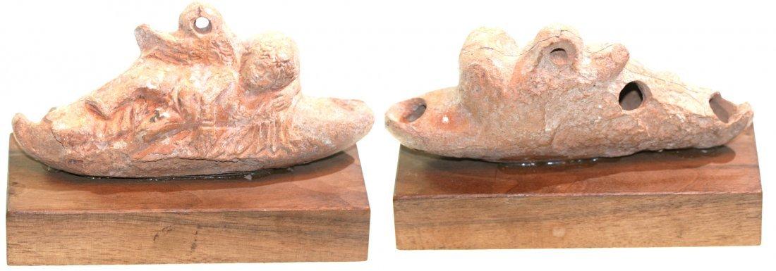 Roman Terracotta Oil Lamp with Sleeping Eros, circa 2nd