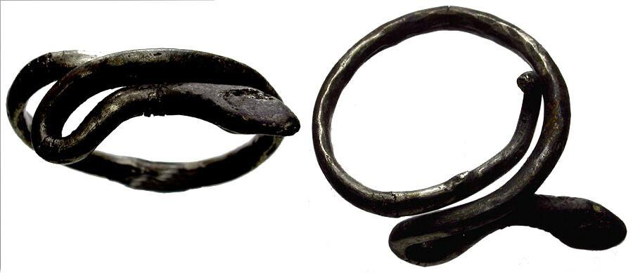 Roman Silver Ring with Snake, circa 2nd-4th Century AD