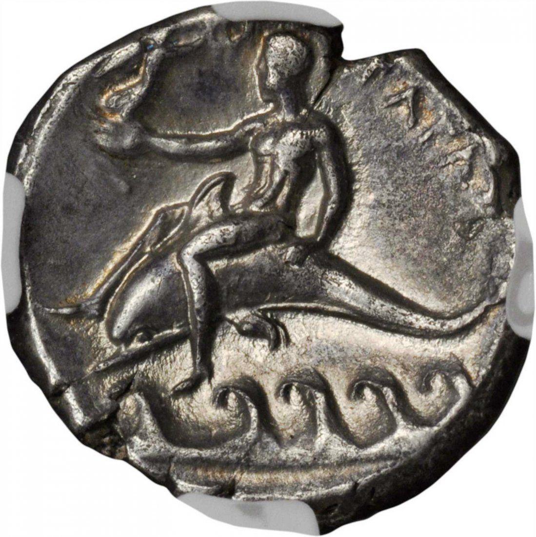 ITALY. Calabria. Tarentum. AR Didrachm Boy on Dolphin