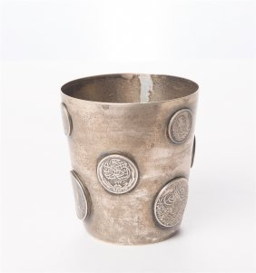 Ottoman Silver Cup With King King Farouk Fouad Medal