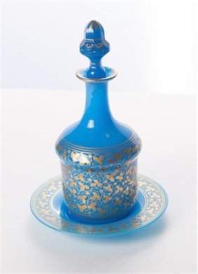 Blue Bohemian Glass Decanter With Under Plate