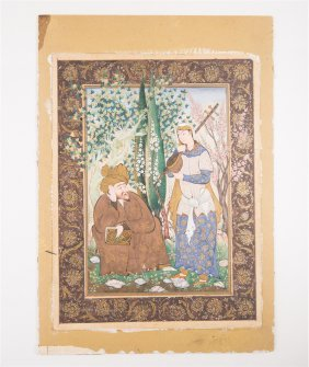 19th Ce Persian Miniature Painting Page Signed Rouhani