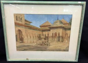 Large Alhambra Water Color In A Frame