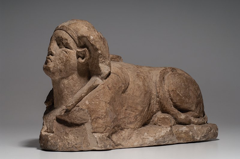 Ancient Egyptian Limestone Sphinx Late period, c.700 BC