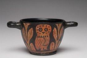 Ancient Apulian Owl Skyphos Magna Graecia Ca. 350 B.c.