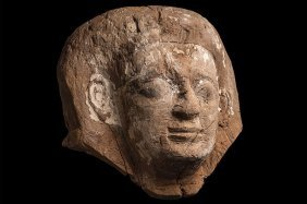 Large Ancient Egyptian Wooden Sarcophagus Mask
