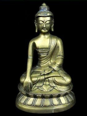 Chinese Or Tibetan Brass Statue Of Buddha. The Measurem