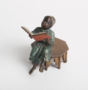 A Vienna Bronze With Middle Eastern Man Ready A Book