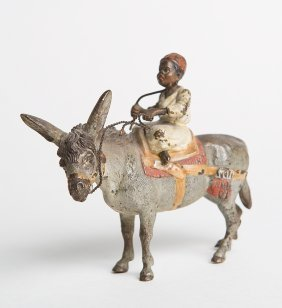 A Vienna Bronze With Middle Eastern Man On Donkey