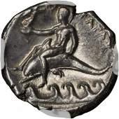 ITALY Calabria Tarentum AR Didrachm Boy on Dolphin