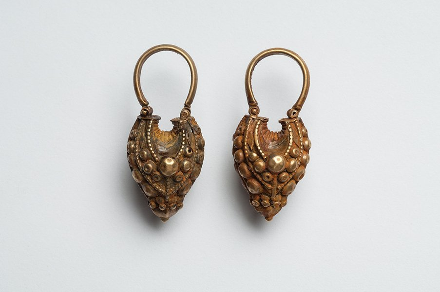 Ancient Hellenistic Gold Earrings Ca. 300 B.C.