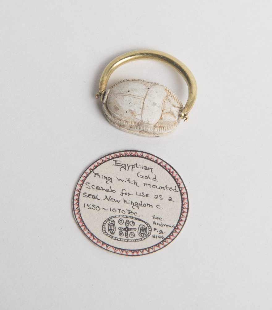 Ancient Egyptian Gold Ring with Mounted Scarab c.1550 B
