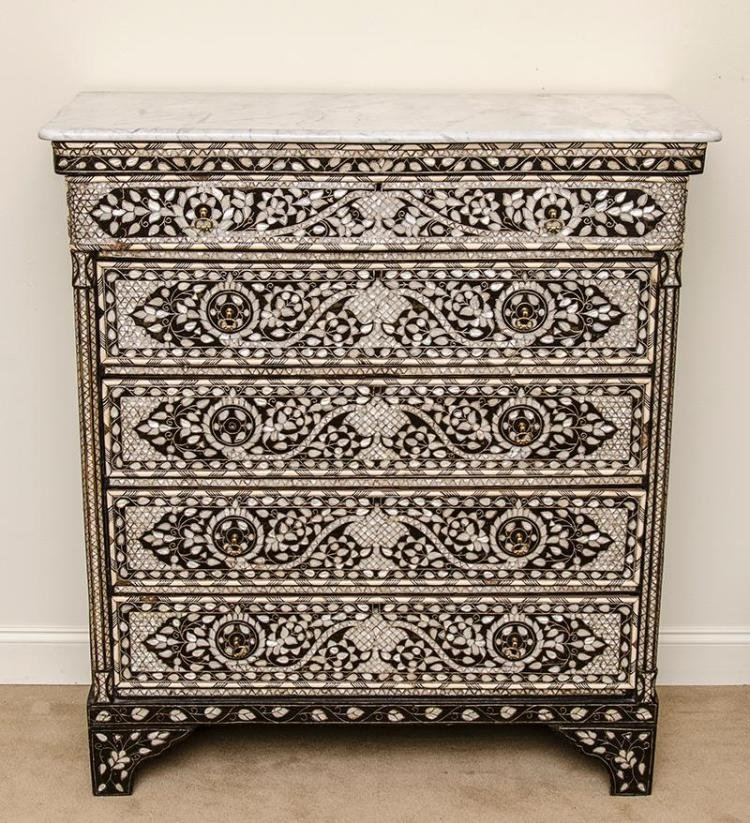 Syrian Bone and Mother-of-Pearl Inlaid Chest of drawers