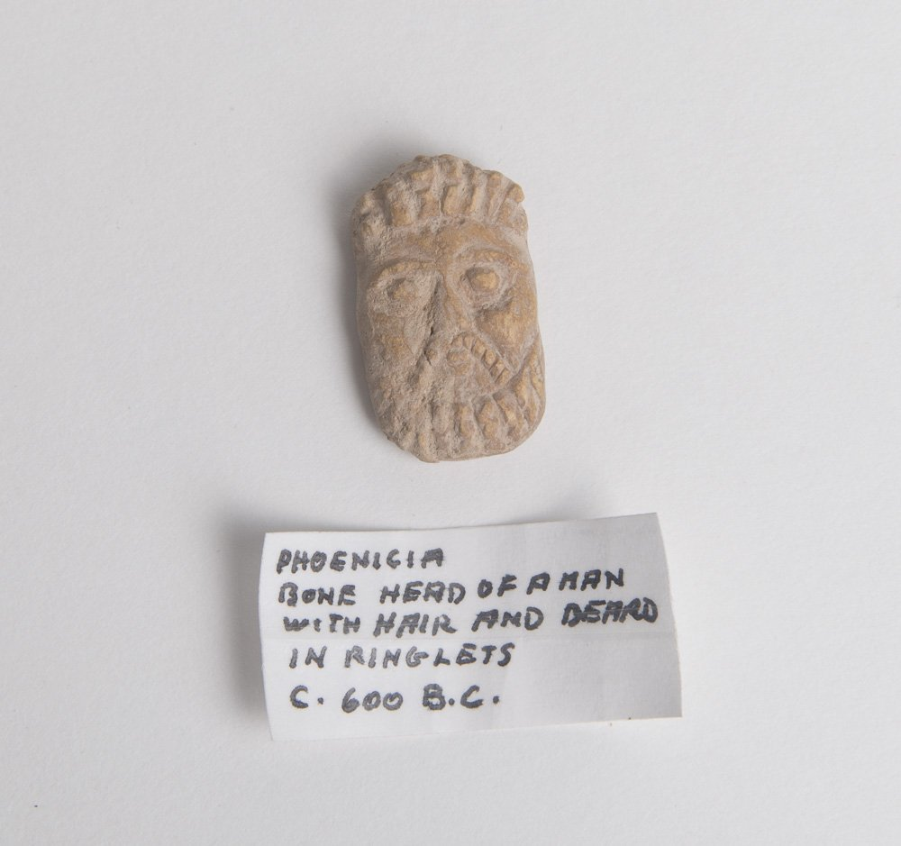 Ancient Phoenician Carved Bone head of a Man c.600 BC