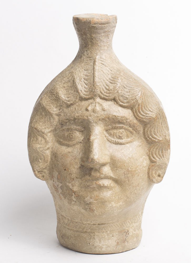 Ancient Roman North African Terracotta Head Flask c.200