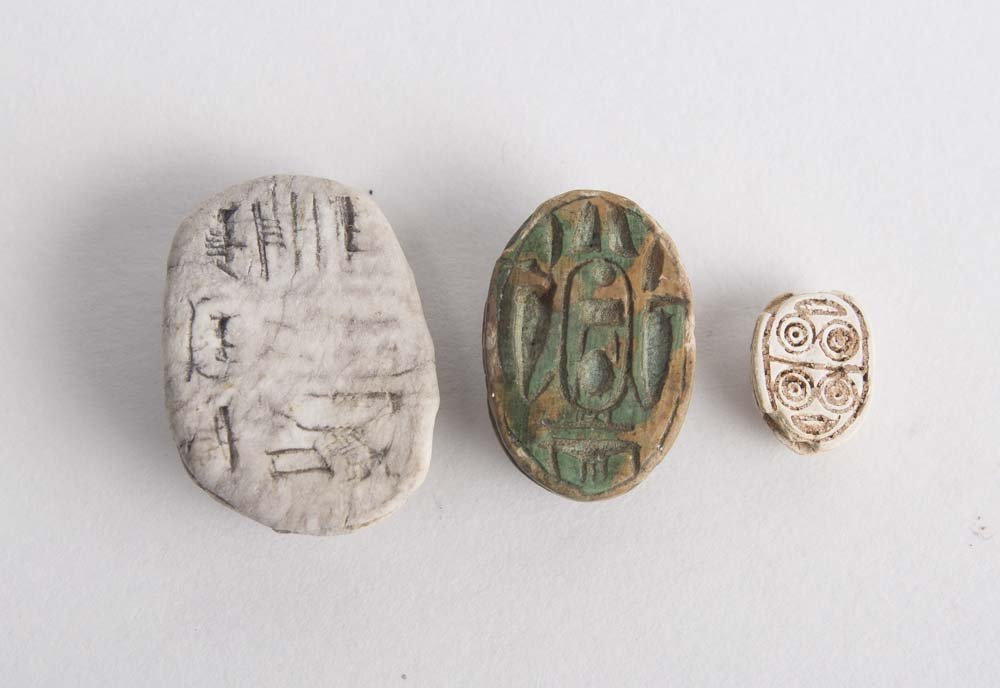 Lot of 3 Ancient Egyptian Steatite Stone Scarabs C.1500 - 2